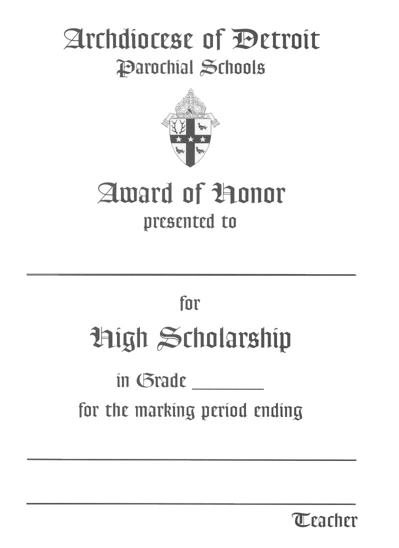 Award of Honor - Elementary