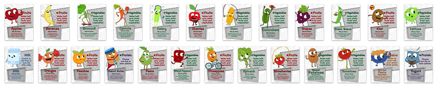 Display of 25 food fact inserts for Eat Your Colors nutrition education, cartoon character for each food item