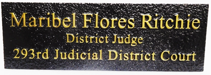 GP-1437 - Carved Plaque  of District Judge's Name Plate, 2.5-D raised Relief, Brass-Plated