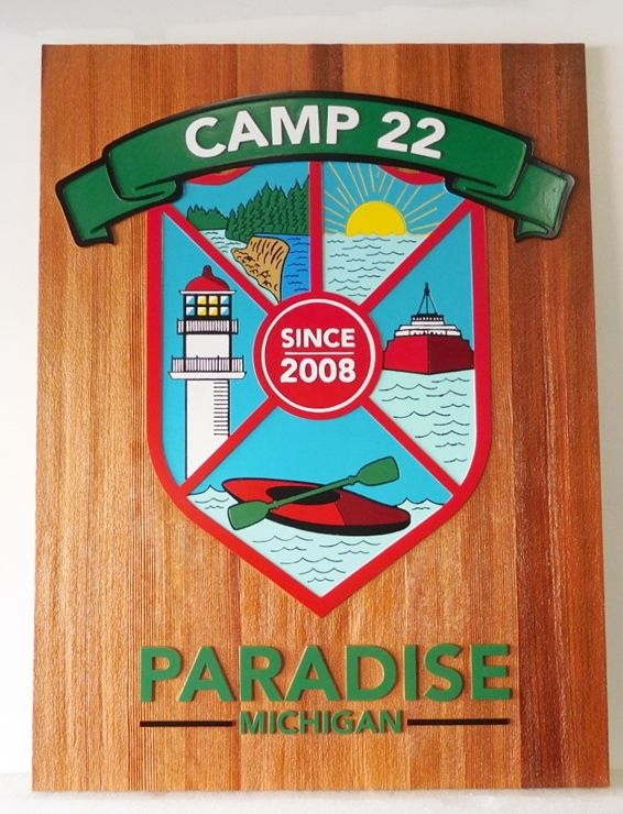 G16321 - Carved, Stained, Cedar Wood Camp Sign With Ship, Lighthouse and Kayak