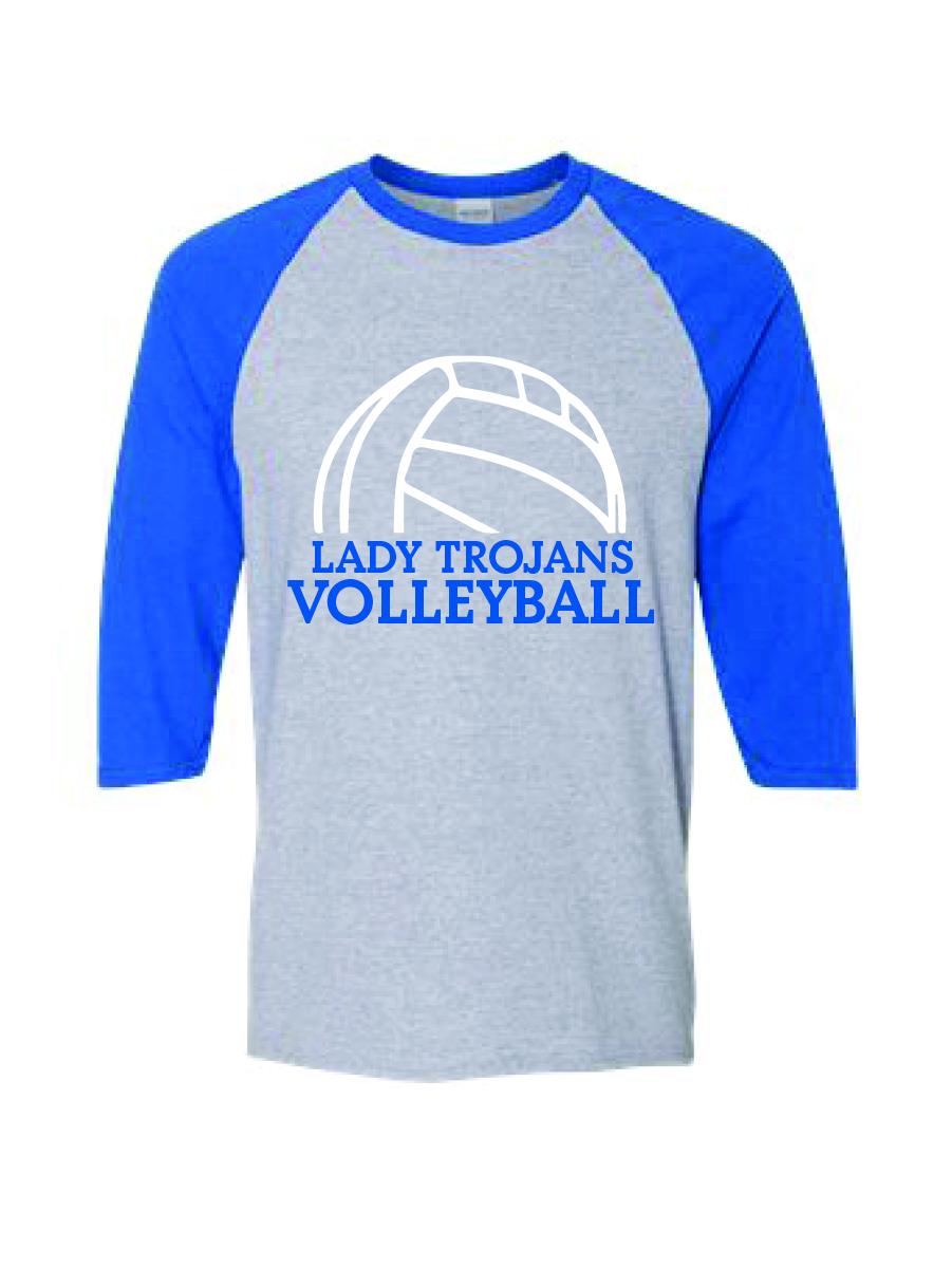 Ladies' Fine Jersey Three-Quarter Sleeve Volleyball T-Shirt (Clone)