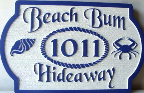 L21570 - Sandblasted HDU Beach House Name and Address Plaque