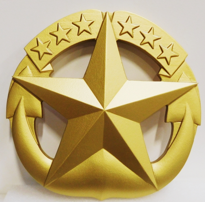 MP-1675 - Carved Plaque of US Army Star Emblem, 3-D MetallicGold  Painted