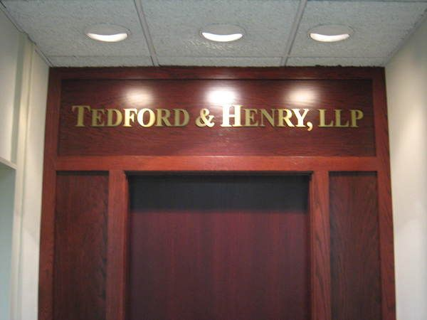 Interior Hallway, Office / Suite, Entrance Sign, Firm Name in Raised Dimensional Letters, Brass Laminate