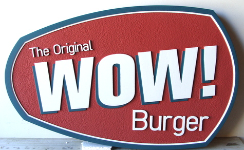 "Q25810 - Sandblasted HDU ""Wow"" Burger Restaurant Sign"