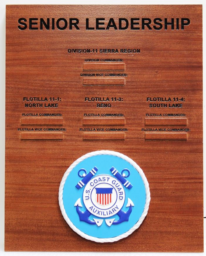 NP-2675 - Engraved Mahogany Senior Leadership Board for Coast Guard Auxiliary, with Carved 3-D Coast Guard Auxiliary Crest