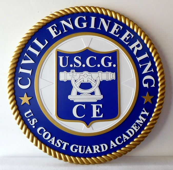 RP-1886 - Carved Wall Plaque of  the Seal of Civil Engineering,  Coast Guard Academy, Artist Painted