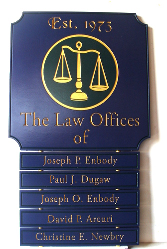 A10517 - Dark Blue & Gold Law Office Wall Directory Sign with Attorney Names