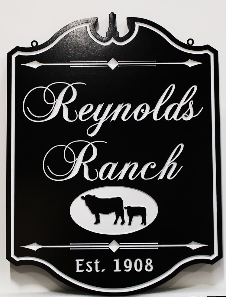 """O24138 - Engraved HDU Sign for """"Reynold's Ranch""""., with Cow and Calf as Artwork"""