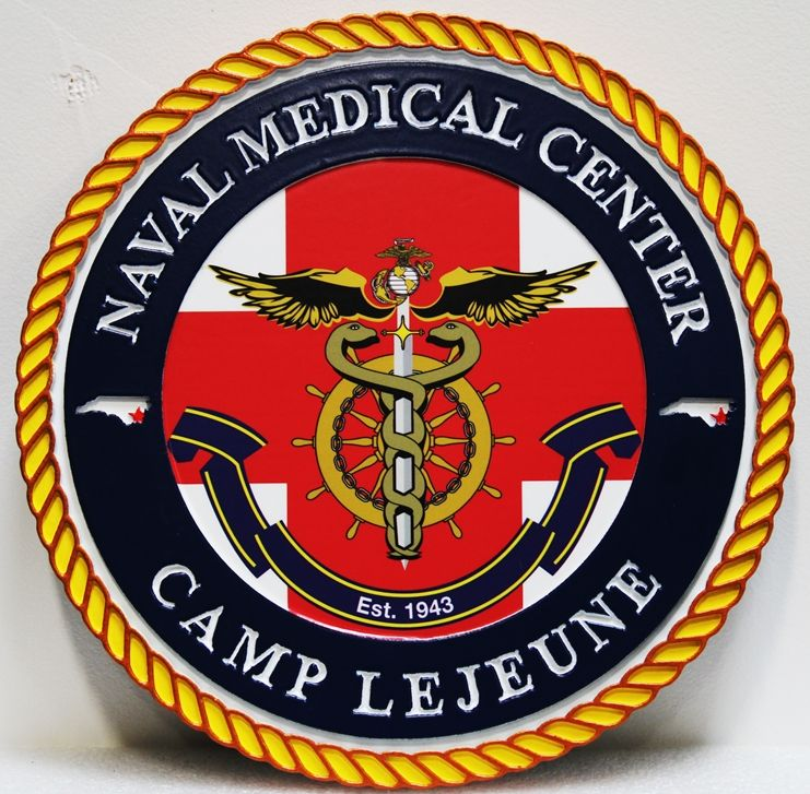 KP-2501 - Carved HDU Plaque of the Crest for Naval Medical Center in Camp Lejeune