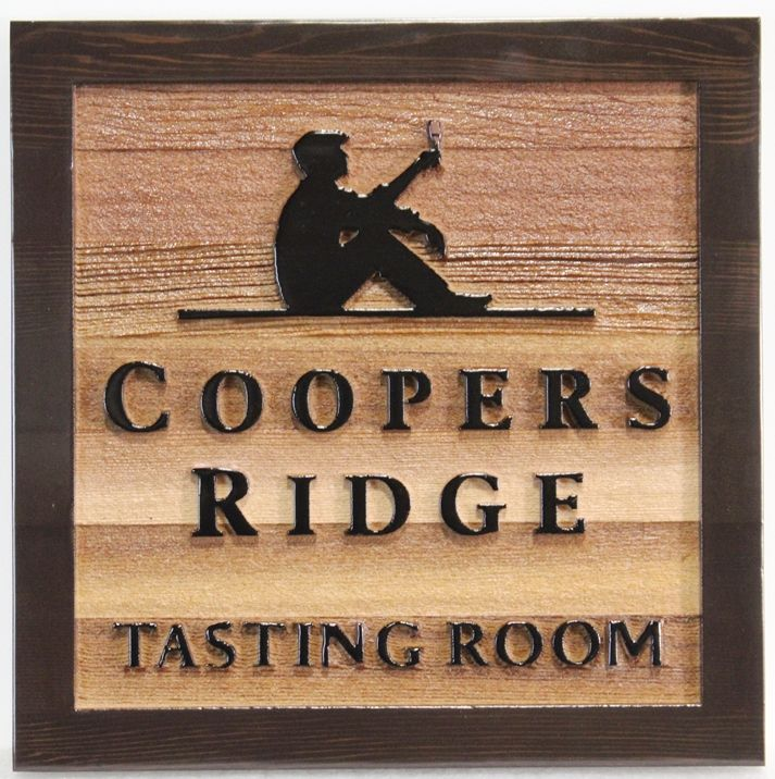"R27033 - Carved and Sandblasted  Cedar as Artworkr ""Cooper's Ridge Wine Tasting Room"" Sign, with Seated Wine Drinker"