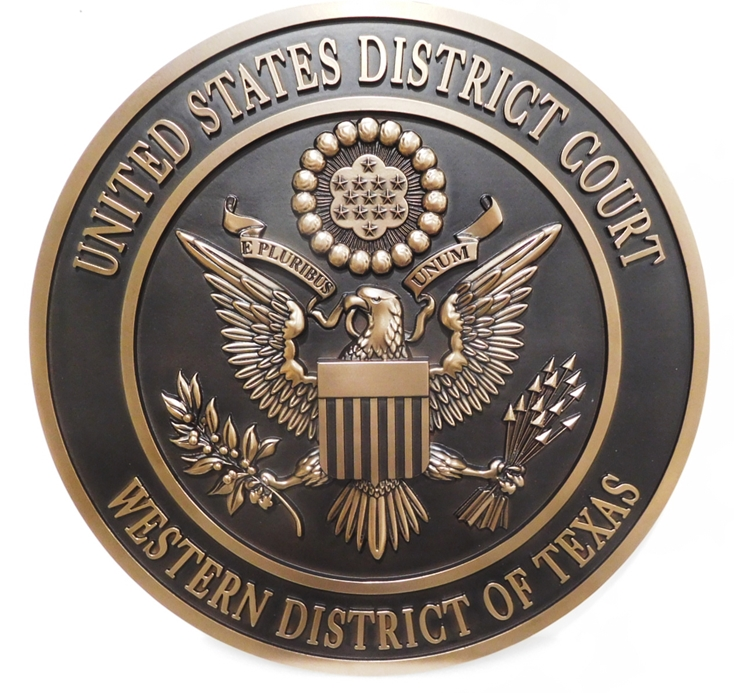 FP-1330 - Carved Plaque of the Seal of the US District Court of the Western District of Texas. 3-D Brass-Plated