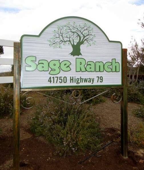 O24857 - Sage Ranch Sign, with Old Tree and Sandblasted Wood-Grain Background