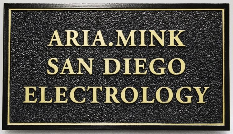 """B11361 - Carved and Sandblasted sign for """"Aria.Mink-San Diego Electrology"""""""
