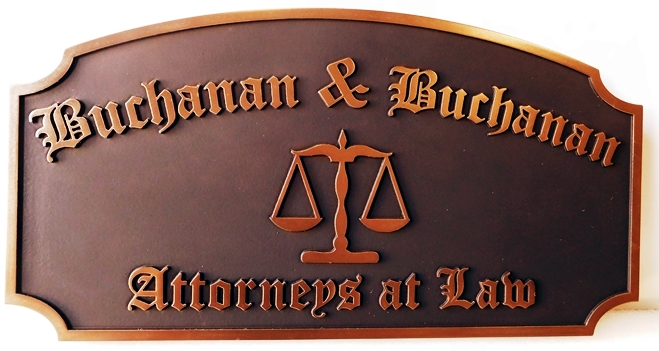 A10043 - Carved, HDU Sign for Attorneys At Law with Metallic Brass Painted Text, Borders and Scales of Justice