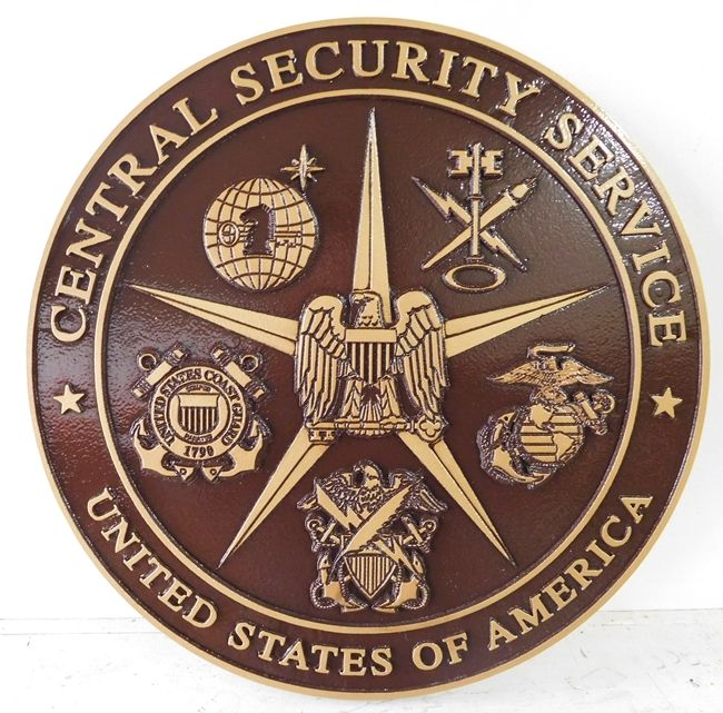 AP-3040 - Carved Plaque of the Seal of the US Central Security Service, Metallic Bronze Painted