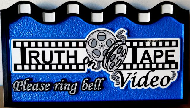 """SA28038 - Carved and Sandblasted HDU Sign for """"Truth Tape Video"""" Store"""