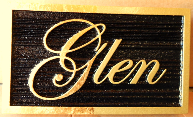 I18120 - Elegant  Property Name Sign with 24K Gold-Gilded Letters and Sandblasted Wood Grain Black Background