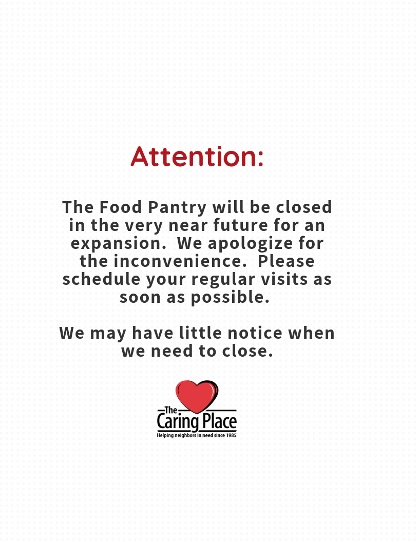 Upcoming Closure in Pantry