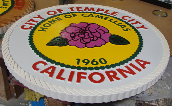 DP-2280 - Carved Plaque of the Seal of the City of Temple City, California,  Artist Painted