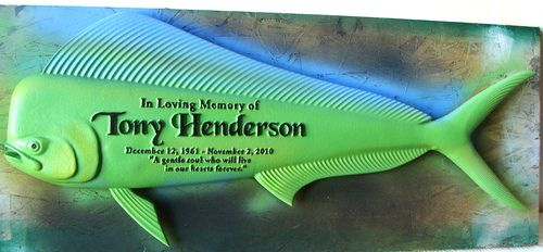 L21382 - Carved Dolphin Fish HDU Plaque for Memorial