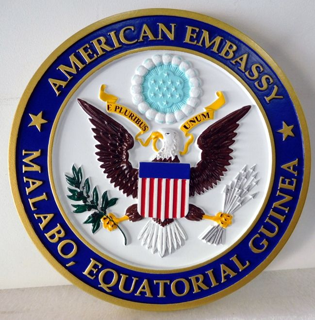 AP-3780 - Carved Plaque of the Seal of the US Embassy in Malabo, Equatorial Guinea, Artist Painted