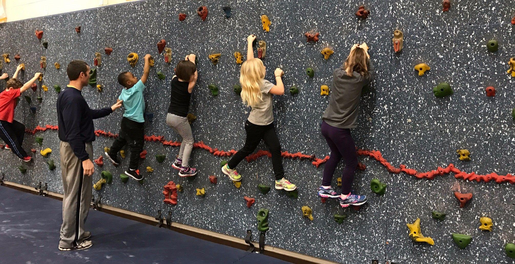 Gym class climbing wall