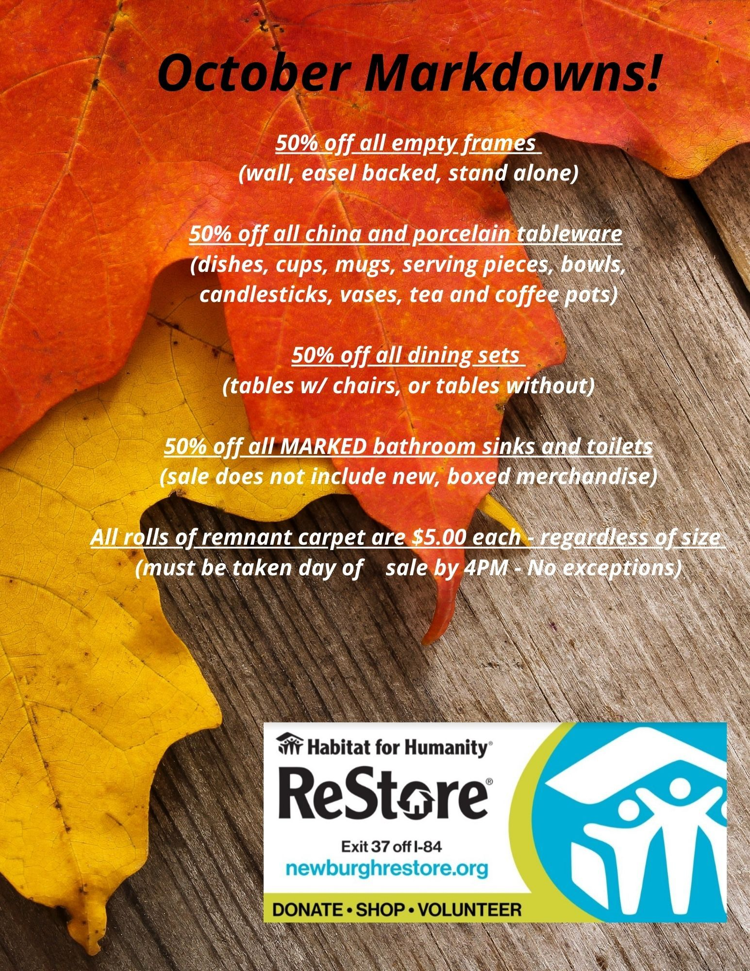 October Markdown Sale at ReStore!