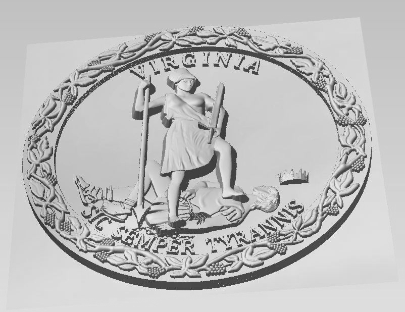 W32513 - Carved Bas-Relief HDU Wall Plaque of the Great Seal of the State of Virginia, Silver Metallic Paint (Edge View Perspective))