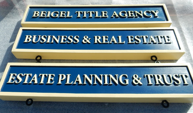 C12337 - Three professional Office Signs, Carved High-Density-Urethane (HDU) with raised text