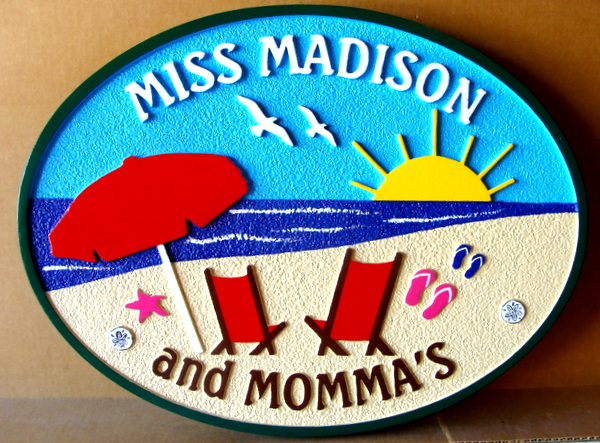 "L21020 – Carved 2.5D HDU Beach House Sign ""Miss Madison"" with Two Chairs facing Ocean"