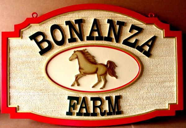 "O24220 - Carved and Sandblasted HDU Sign for ""Bonanza Farm"", with Stallion"