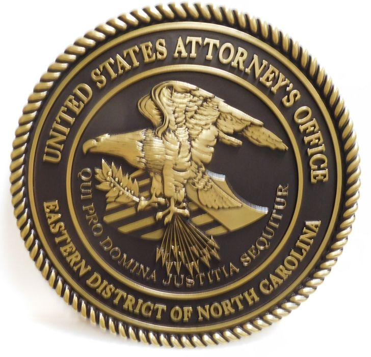 FP-1565 - Carved Plaque of the Seal of the US Department of Justice.  3-D Brass-Plated