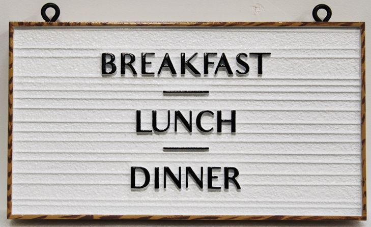 "Q25664 -  Carved and Sandblasted Wood Grain HDU  Hanging Sign for ""The North Shore Crepes Cafe""  with ""Breakfast, Lunch and Dinner"" as Text"