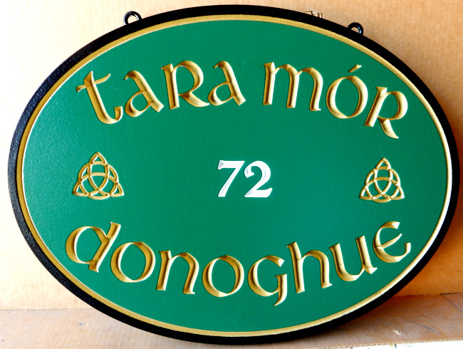 M1486 - Engraved Residential  Property Name And Address Sign with Irish Theme (Gallery 18)