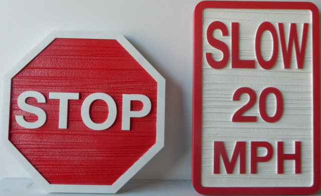 H17170 - Carved and Sandblasted HDU STOP and SLOW Signs