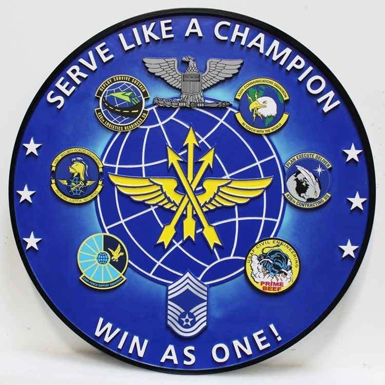 """LP-4001 - Carved 2.5-D HDU Plaque featuring the Crests ofSix Coordinating USAF Squadrons, with Motto """"Serve Like Champion, Win Like One"""""""