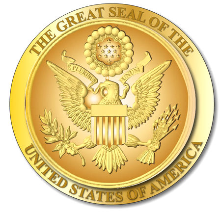 U30040 - Gold 3-D Carved HDU US Great Seal Wall Plaque