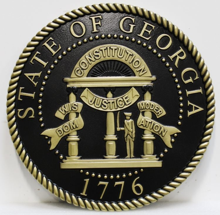 BP-1177 - Carved 3-D HDU Plaque of the Seal of the State of Georgia