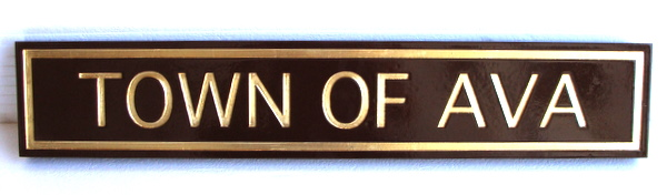 F15014 - Sandblasted, Carved HDU Sign with Name of Town and Raised Metallic Border
