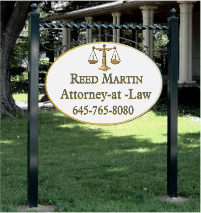 A10127 - Raised Letter Attorney Sign, with Reverse Scroll Bracket and Posts