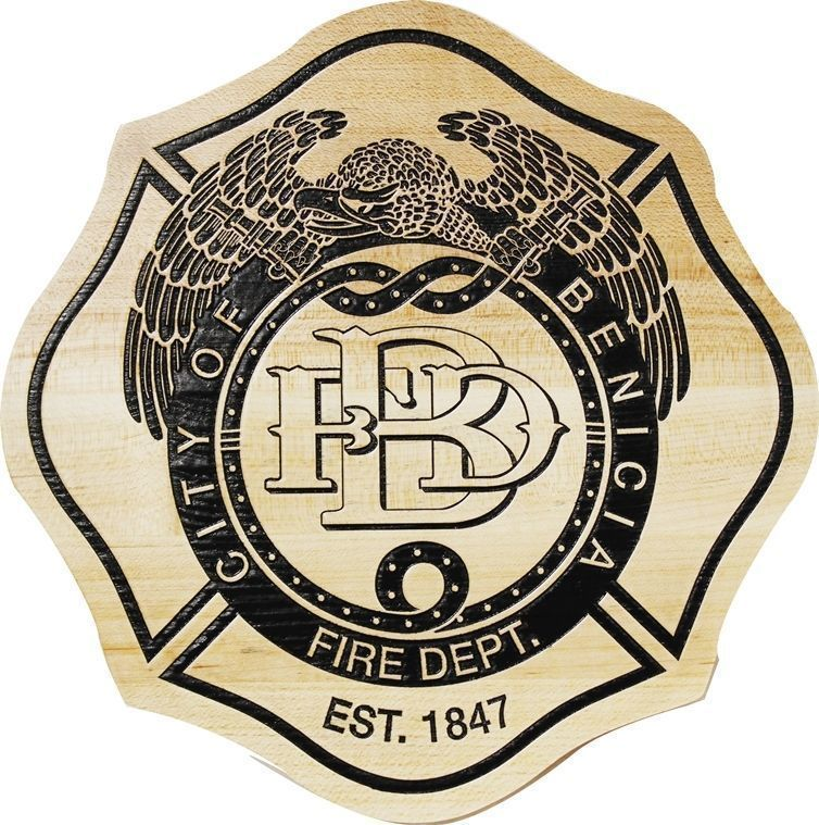X33869 - Engraved Maple  Plaque of the Badge or Patch of the Fire and Crash Rescue Department of Scott Air Force Base