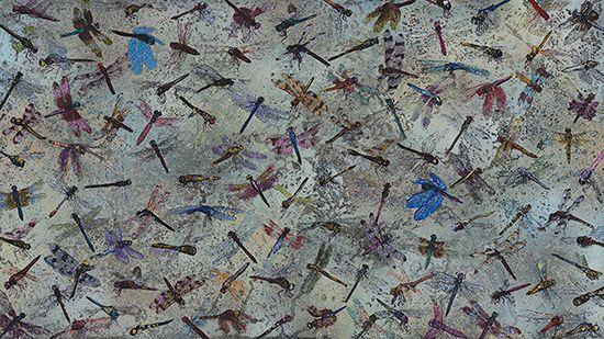 "110 Dragons, Spray paint, nail polish, marker seen through clear panel, 18"" x 32"""