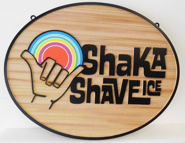 "Q25828 - Carved and Sandblasted Wood Grain Background Sign for a """"Shake A Shave Ice"" Store, with Logo as Artwork"