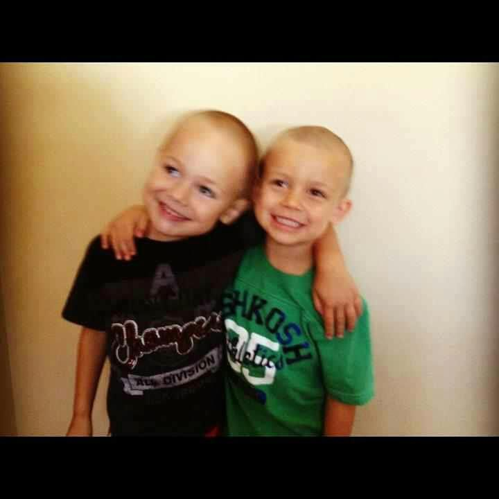 Sammy and his bff, Grady. Grady shaved his head for Sammy.