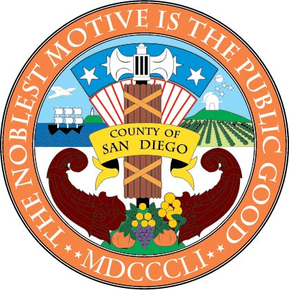 CP-1560 - Carved Plaque of the Seal of San Diego County, California, Artist Painted