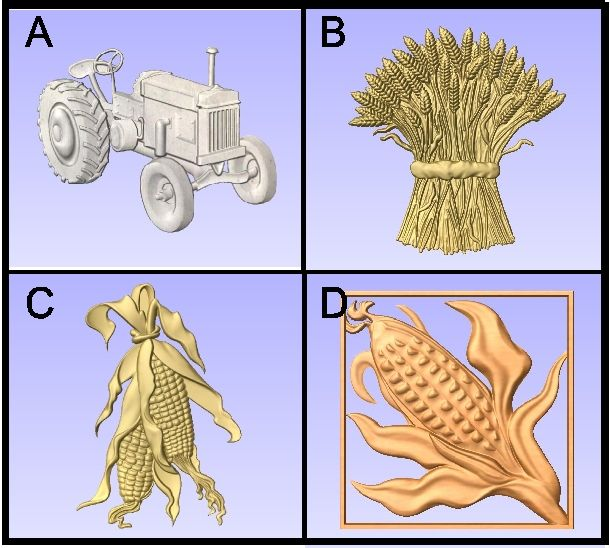 O24999C - Carved Grain Symbols (ear of Corn, Sheaf of Wheat, Tractor)