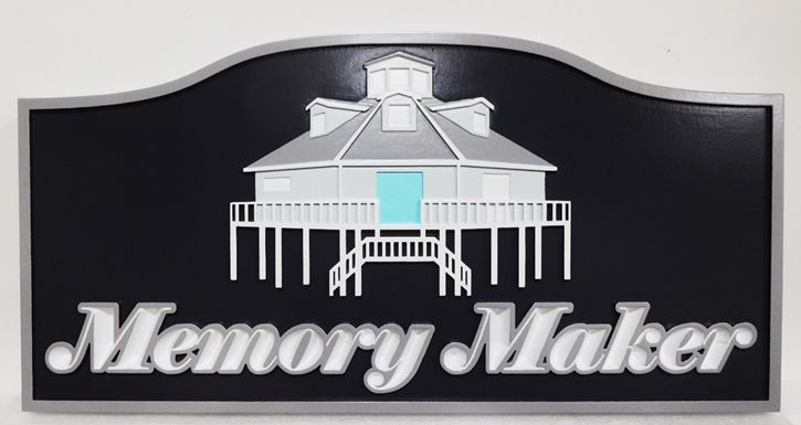 """L21925 - Carved HDU Beach House Name Sign """"Memory Maker"""", 2.5-D Artist-Painted Beach House on Piers as Artwork"""