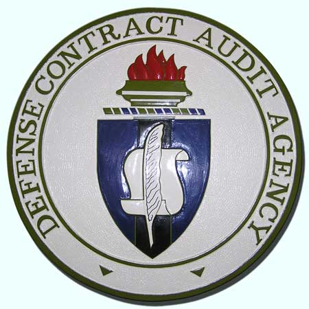 IP-1800 -  Carved Plaque of the Seal of the Defense Audit Contract Audit Agency (DCAA), Artist Painted