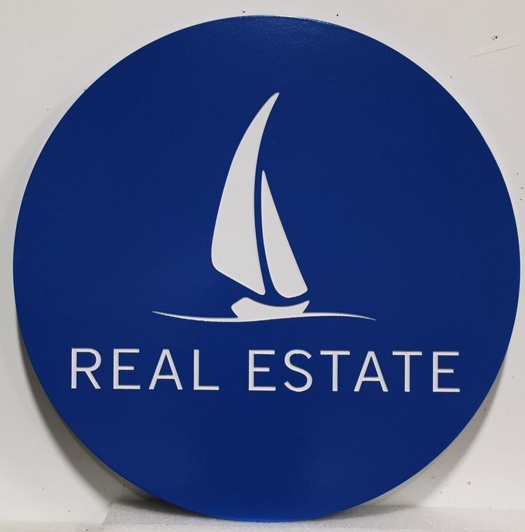 C12344 - Carved  High-Density-Urethane (HDU)Sign for a Real Estate Firm, with a Stylized Sailboat as Artwork.
